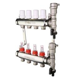 Коллекторные блоки Valtec из нержавеющей стали со встроенными расходомерами и термостатическими клапанами