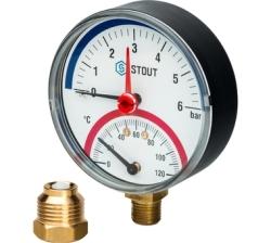 """Термоманометр STOUT радиальный, Корпус Dn 80 мм 1/2"""" (с авт. запорным клапаном)"""